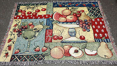 Fruit Collage Cherry/Strawberry/Apple/Pear Tapestry Afghan Throw ~ Susan Winget (Fruit Tapestry Throw)