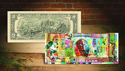CARTOONS Spiderman Flintstones MAGA Genuine Tender $2 US Bill SIGNED by Rency