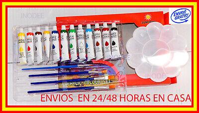 SET 12 COLORES ACUARELA GOUACHE 12ml 4 PINCELES PROFESIONAL CONJUNTO DE PINTURA