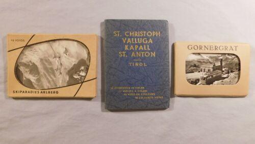 Lot of 3 Vintage Souvenir Mini Photo Packs - Switzerland + Austria Vistas
