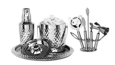 Cocktail Shaker Home Bar Set with Pineapple Design, 9 Piece set ()