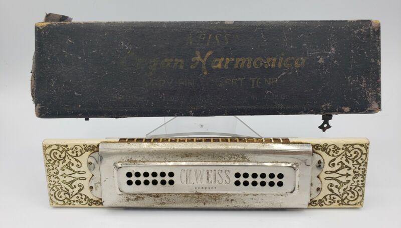 "Rare Circa 1855 CH Weiss 80 Hole F Organ Harmonica Tremolo Concert  9"" Germany"