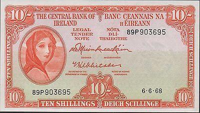 Ireland 10 /-  6.6.1968  P 63a Prefix 89P  Uncirculated Banknote