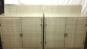 2 x matching plastic rattan cane cabinets with wheels