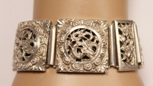 Chinese Export Sterling Silver Bracelet with Dragons