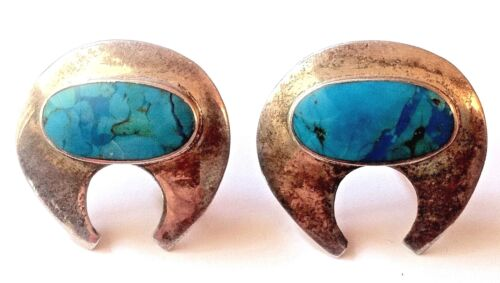 UNIQUE 1970s VINTAGE ETHNIC EARRINGS~ 925. SILVER & TURQUOISE ~MADE IN USA~ NEW