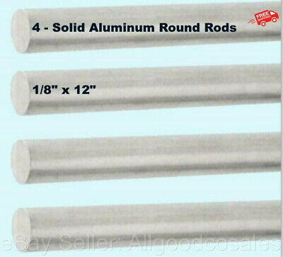 Solid Aluminum Round Rods 4-pack 18 X 12 Bar Stock Alloy 6061 Mill Finish