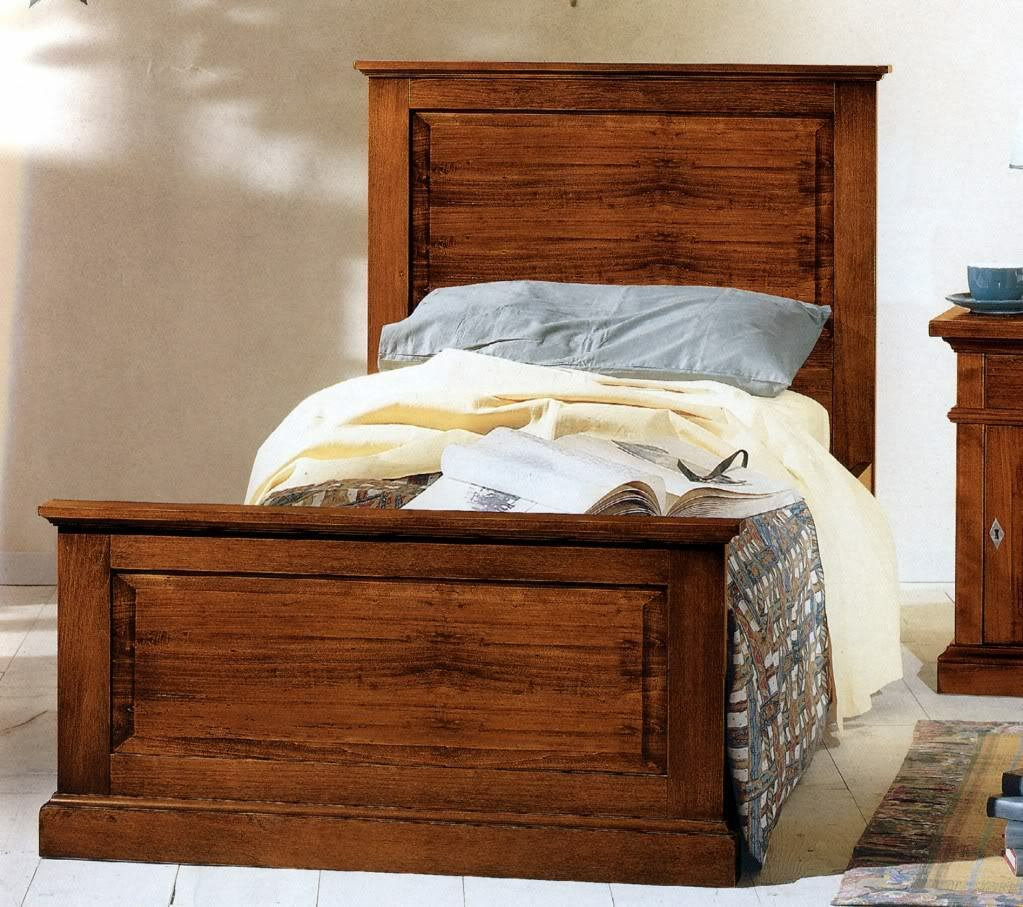 Letto singolo arte povera in legno massello in vari colori - Camera letto singolo ...