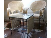 Set of two straw coloured rattan chairs and tables