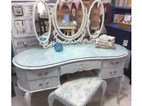 Shabby Chic dressing table, stool and mirror