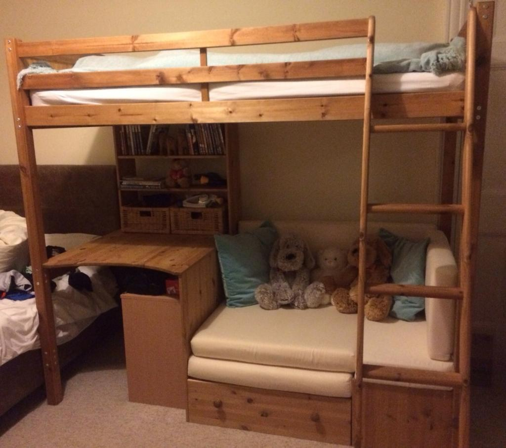 High Sleeper Solid Pine Bed With Desk And Sofa Bed Underneath United Kingdom Gumtree