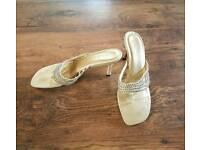 Ladies uk size 8 gold kitten heal sandals