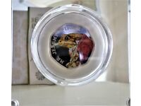 2017 BEATRIX POTTER MR JEREMY FISHER 50 PENCE STERLING SILVER COLOURED PROOF BRAND NEW COIN