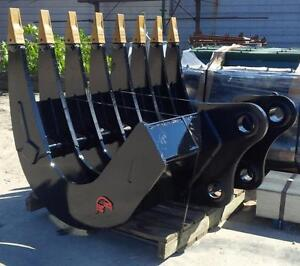 EXCAVATOR ATTACHMENTS BEST BUILT IN CANADA ,ROOT RAKES,BUCKETS,& THUMBS