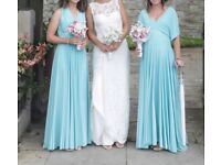 3 x Two Birds Duck Egg bridesmaid dresses, size A