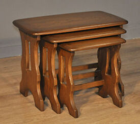 Attractive Vintage Set of Ercol Elm Nest Of Three Shapely Tables