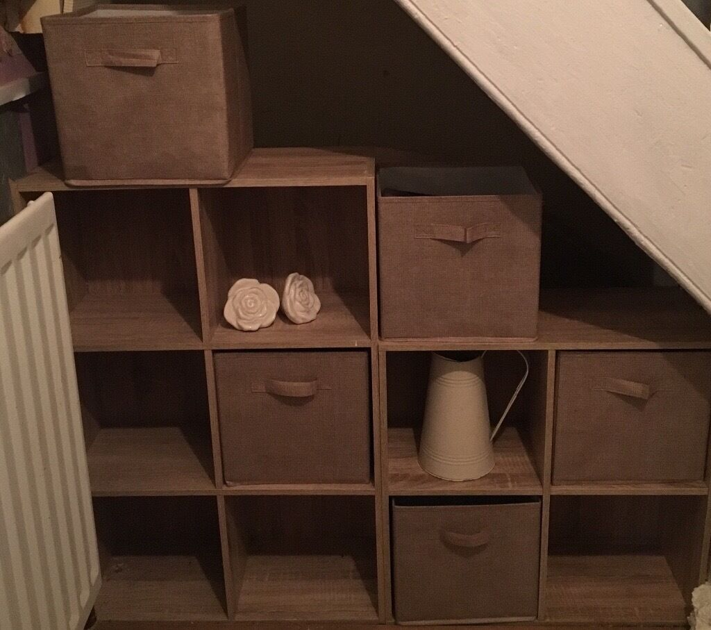Under Stair Storage Cube Unit With Canvas Storage Boxes