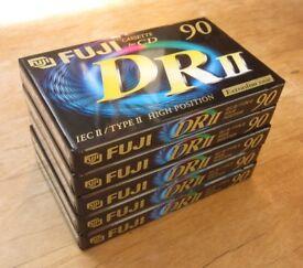 FUJI DRII-90 Type II Blank Cassette Tapes, Set of 5