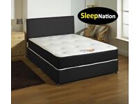 "FX Leather Divan Bed with 10"" Cloud 9 Memory Foam Sprung Orthopaedic Mattress"