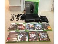 Xbox 360 S, Black, 250GB, 9 Games, 2 Controllers