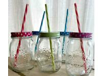 Lidded Drinking Glasses with Straws