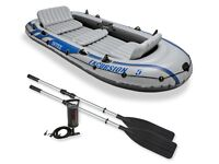 Intex Excursion 5 person Dinghy/Inflatable boat with 50 lbs Electric Outboard Trolling Motor