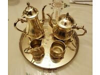 Silver Plated Tea and Coffee Set with Tray