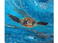 Turtle swimming through blue ocean art print.