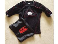 GREAT CANTERBURY RUGBY UNDER ARMOUR SIZE LB PADS PROTECTIVE SHIRT PADDED VEST W/ CARRY BAG BOYS VGC