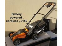 BATTERY POWERED LAWNMOWER , CORDLESS