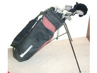 Mens right hand golf clubs Hippo woods Howson irons putter stand bag balls tees Ideal starter set