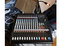 Citronic 600w x2 CLP1200 12 Channel Powered Amp ~ Mixing Console, Amp Light & Speaker Cables