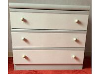 Bedroom drawers and table