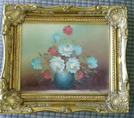 Small Gilt Framed Flowersin Vase signed by R COX 1934 -2001
