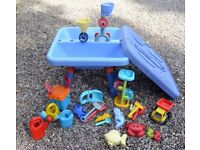 ELC blue sand and water table with lots of extra toys