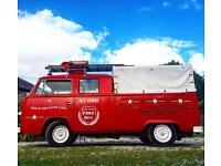 Volkswagen Transporter VW T2 Custom Red Fire Engine Bar Portable 1976 Classic Vintage