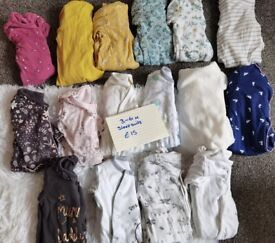 3-6 month sleepsuits (girl)