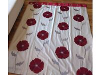 Red and White Curtains with curtain pole if required