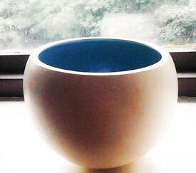 Retro Style Cream/Blue Round Sphere Ball Hanging Planter Pot Art Piece Bowl Vase.