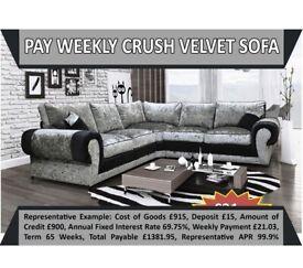 PAY WEEKLY CRUSHED VELVET CORNER SOFA £21 A WEEK