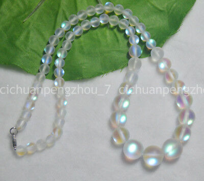 Cheap Beaded Necklaces (Flash 6-12mm White Gleamy Rainbow Moonstone Round Gems Beads Necklaces)
