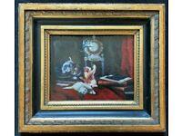 'Frolicking Kittens' Lovely Original 20thc English School Framed Oil Painting