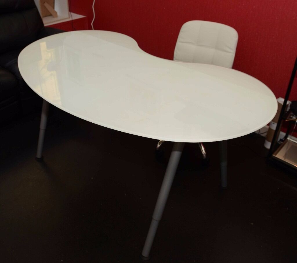 White Frosted Glass Kidney Bean Shaped Desk