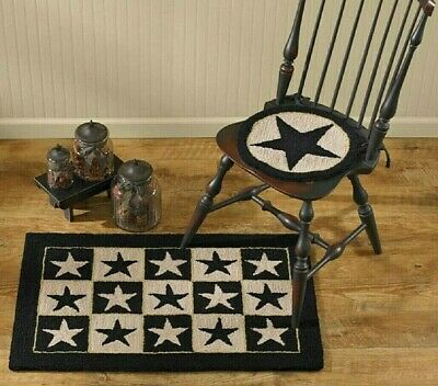 Hooked Rustic Rug - Primitive BLACK STAR Hooked Rug Chair Pad Seat Cushion Farmhouse Colonial Rustic