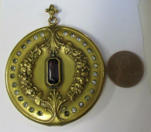 HUGE! ANTIQUE Vtg CENTER PURPLE GLASS STONE CLEAR PASTE STONE GOLD FILLED LOCKET