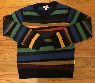 Paul Smith Junior Boys Colored Striped Crewneck Sweater Holiday Gift Size 4A