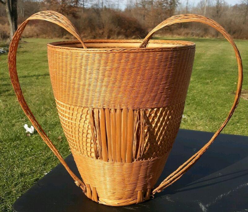 Vintage Wicker Backpack Basket