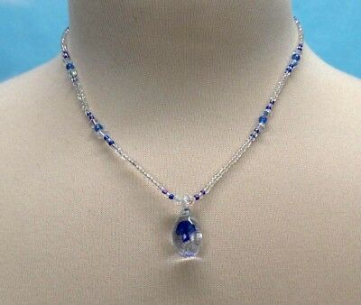 Blue Mushroom Necklace Glass Pendant Glass Bead Choker 15 Inch - 15 Inch Choker