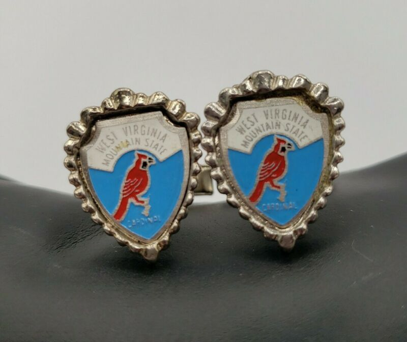 West Virginia Mountain State Vintage Silver Toned Cuff Links Cardinal Matching
