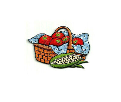 Iron On Applique Patch Farming Gardening Country Basket Vegetables